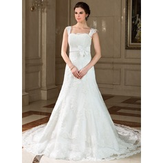 A-Line/Princess Square Neckline Chapel Train Tulle Wedding Dress With Lace Bow(s) (002011757)