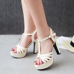 Kvinnor Konstläder Stilettklack Sandaler Plattform Peep Toe Slingbacks skor