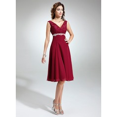 Empire V-neck Knee-Length Chiffon Lace Mother of the Bride Dress With Sash Beading Bow(s)