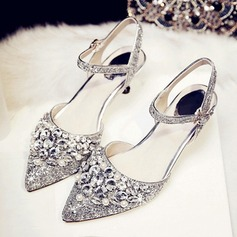 De mujer Brillo Chispeante Tacón stilettos Encaje Sandalias Beach Wedding Shoes con Rhinestone