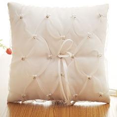 Elegant Ring Kissen in Stoff mit Bogen/Faux-Perlen