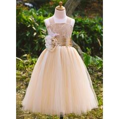 Corte A/Princesa Hasta el tobillo Vestidos de Niña Florista - Satén/Tul/Encaje Sin mangas Escote Cuadrado con Cuentas/Flores (010071495)