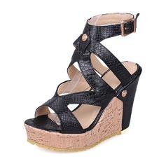 Femmes PU Talon compensé Compensée avec Boucle chaussures