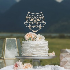 Personalized Owl Acrylic/Wood Cake Topper