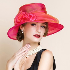 Damen Glamourös Organza mit Blume Schlapphut