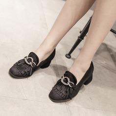 Femmes Suède Talon bottier Escarpins Bout fermé avec Tassel chaussures