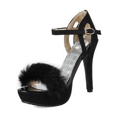 Frauen Veloursleder Stöckel Absatz Sandalen Absatzschuhe Peep Toe mit Schnalle Pelz Schuhe