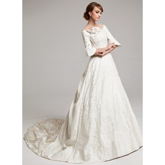 A-Line/Princess Off-the-Shoulder Chapel Train Charmeuse Wedding Dress With Ruffle Beading Flower(s)