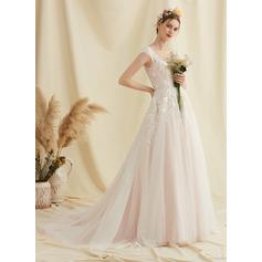 Balklänning/Prinsessa V-ringning Court släp Tyll Spets Bröllopsklänning med Blomma (or)