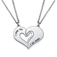 Personalized Couples' Eternal Love 925 Sterling Silver With Heart Engraved Necklaces Necklaces For Couple