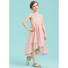 A-Line V-neck Asymmetrical Lace Junior Bridesmaid Dress
