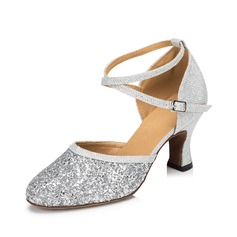 Women's Leatherette Heels Pumps Ballroom With Ankle Strap Dance Shoes (053075953)