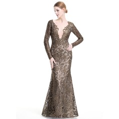 Trumpet/Mermaid Scoop Neck Floor-Length Lace Evening Dress With Beading (017080866)
