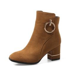 Naisten Mokkanahka Chunky heel Avokkaat Kengät Nilkkurit kengät