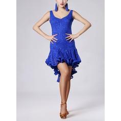 Mulheres Roupa de Dança Renda Veludo Dança Latina Vestidos