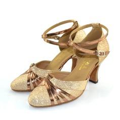 Mulheres Espumante Glitter Saltos Bombas Salão de Baile com Correia de Calcanhar Sapatos de dança