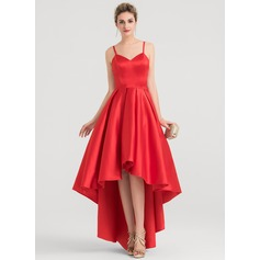 A-Line V-neck Asymmetrical Satin Evening Dress (017147969)