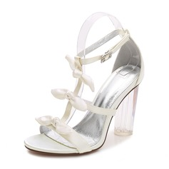 Women's Silk Like Satin Chunky Heel Peep Toe Pumps Sandals MaryJane With Bowknot Buckle