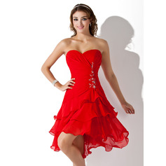 A-Line/Princess Sweetheart Asymmetrical Chiffon Homecoming Dress With Ruffle Beading Sequins