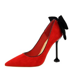 Frauen Veloursleder Spule Absatz Absatzschuhe Geschlossene Zehe mit Bowknot Schuhe