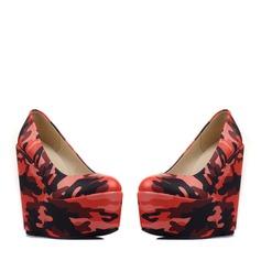 Femmes PU Talon compensé Escarpins Plateforme Bout fermé Compensée avec Fleur en satin chaussures