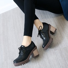 Naisten Keinonahasta Chunky heel Avokkaat Platform Suljettu toe jossa Nauhakenkä kengät