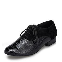 De los hombres Cuero Ante Planos Danza latina Sala de Baile Entrenamiento zapatos de personaje con Cordones Zapatos de danza