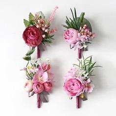 Fascinante Forma livre Pano Conjuntos de flores - Buquê de pulso/Alfinete de lapela