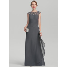 A-Line/Princess Scoop Neck Floor-Length Chiffon Mother of the Bride Dress With Beading Sequins Cascading Ruffles (008131951)