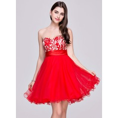 Vestidos princesa/ Formato A Coração Curto/Mini Tule Renda Vestido de boas vindas com Pregueado