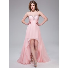 Empire Sweetheart Asymmetrical Chiffon Prom Dresses With Ruffle Beading Sequins