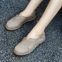 Женщины Замша Плоский каблук На плокой подошве Закрытый мыс с Соединение врасщеп обувь