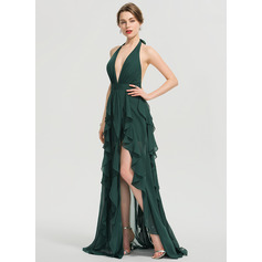A-Line Halter Floor-Length Chiffon Prom Dresses With Split Front Cascading Ruffles (018192356)