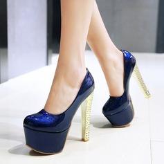 De mujer Cuero Tacón stilettos Salón Plataforma con Brillo Chispeante zapatos