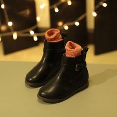 Pigens patent Leather Flad Hæl Lukket Tå Støvler