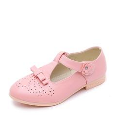 Fille de similicuir talon plat Bout fermé Chaussures plates avec Bowknot Velcro Ouvertes