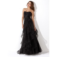 A-Line/Princess Sweetheart Floor-Length Organza Evening Dress With Cascading Ruffles (017013725)