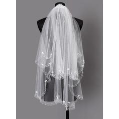 Zweischichtig Perlenbesetzter Saum Ellenbogen Braut Schleier mit Perlstickerei