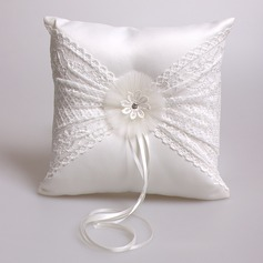 Dreamy Ring Pillow in Satin/Lace With Rhinestones