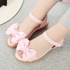 Girl's Leatherette Flat Heel Round Toe Peep Toe Slingback Sandals With Bowknot Velcro