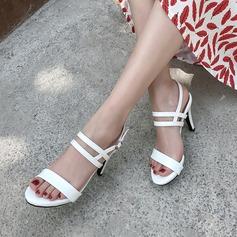 Mulheres Couro Brilhante Salto agulha Sandálias Bombas Peep toe com Fivela sapatos