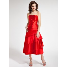 A-Line/Princess Sweetheart Tea-Length Charmeuse Homecoming Dress With Ruffle