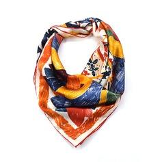 Retro /Årgång Torget 100% Mulberry silke Fyrkantig halsduk
