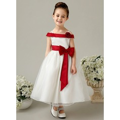 Vestidos princesa/ Formato A Longuete Vestidos de Menina das Flores - Cetim Sem magas Off-the-ombro com fecho de correr/Curvado