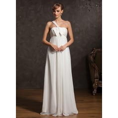 Empire One-Shoulder Floor-Length Chiffon Maternity Bridesmaid Dress With Ruffle Bow(s)