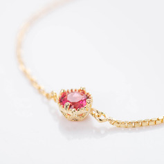18k Gold Plated Delicate Chain Bridal Bracelets Bridesmaid Bracelets With Cubic Zirconia -