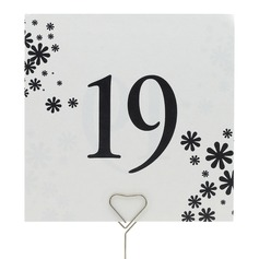 Flower Design Pearl Paper Table Number Cards (Set of 10)
