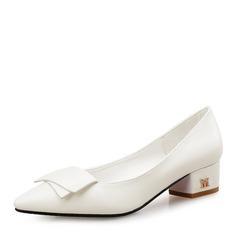 Женщины кожа На каблуках Закрытый мыс с бантом обувь