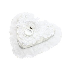 Heart Shaped Ring Box in Satin With Rhinestones/Faux Pearl