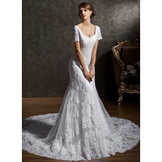 Trumpet/Mermaid Sweetheart Cathedral Train Tulle Lace Wedding Dress With Beading